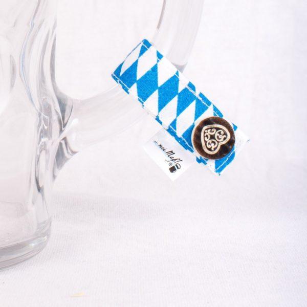 Bayernraute-Herz, Masserl, Maßkrugmarker, Masskrugbänder, Glasmarkierungen, meimass, mei mass, mei bandl, filzmarker, Trachtenschmuck, Charivari, bierglasmarker, Masskrugbandl, Weinglasmarker, Henkel, Hirsch, Breze, Tracht